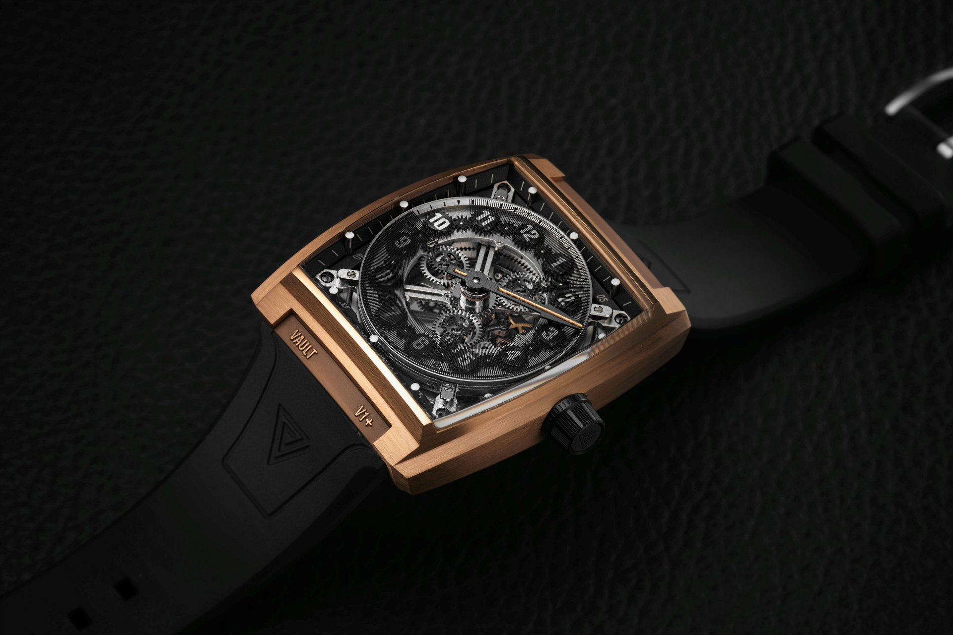 Vault v1 bespoke gold watch from Vault Swiss