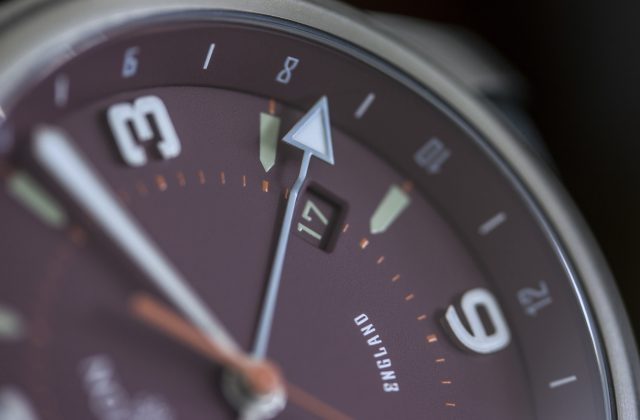 Pinion TT watch with maroon dial