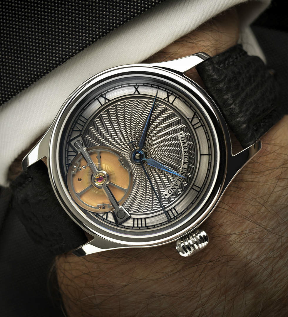 Garrick S2 watch with engine turned dial