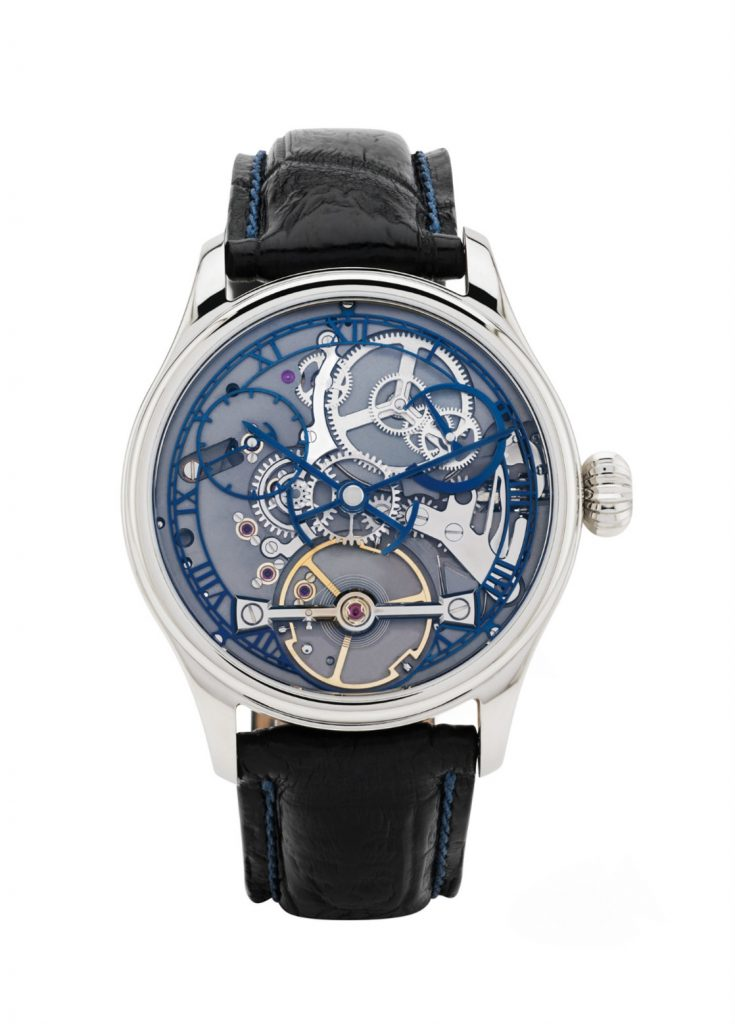 handmade English watch with a skeleton dial by Garrick watchmakers